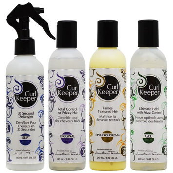 Curl Keeper Detangler + Total Control + Styling Cream + Gel 8oz 'Set' (Pack of 4)