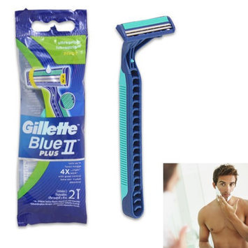 Atb 2 Pc Razor Disposable Blue 2 Plus Twin Blade Ultra Grip Lubrastrip Pivot Shaver