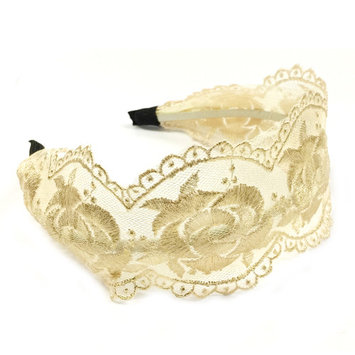 Wrapables® Elegant Lace Headband with Gold Tone Threading, Beige