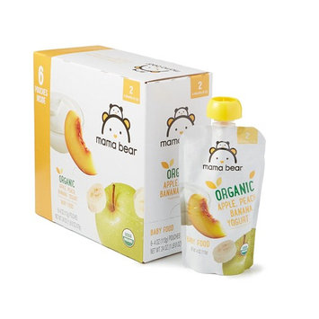 Amazon Brand - Mama Bear Organic Baby Food, Stage 2, Apple Peach Banana Yogurt, 4 Ounce Pouch