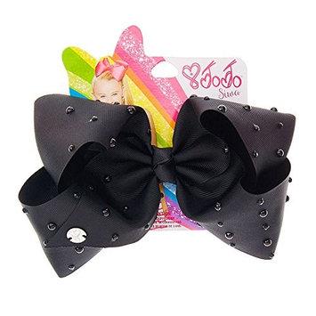 JoJo Siwa Black Signature Hair Barrette Bow with Black Rhinestones and Beads, 2 Pack Bow Set