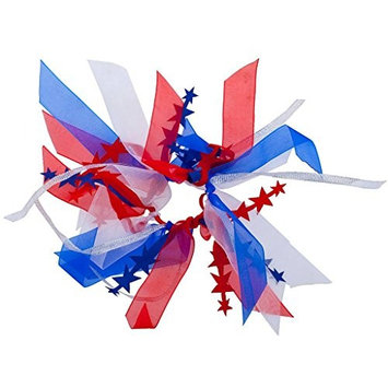 Lux Accessories Festive 4th of July America Red White Blue Ribbon Hair Tie