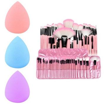 32 Pcs Makeup Brush Set by Zodaca for Eyeshadow Blush Foundation Blending Eyeliner Highlighter with Pouch Bag Case - Pink + 3x Makeup Sponge Blender Flawless Droplets