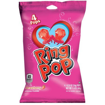 Ring Pop Valentine's Strawberry Candy, 4-0.35 oz Pops