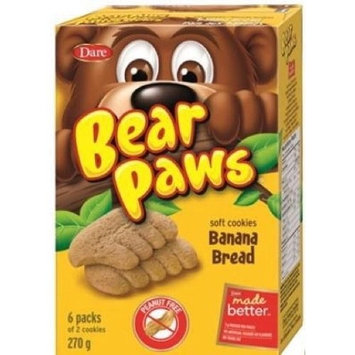 Dare Bear Paws Banana Bread Soft Cookies 270g - Peanut Free (Imported from Canada)