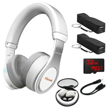 Klipsch Reference On-Ear Bluetooth Headphones White w/ 32GB Memory Card Bundle