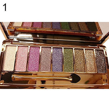 EVERICH Women 9 Colors Waterproof Make UP Glitter Eyeshadow Palette with Brush