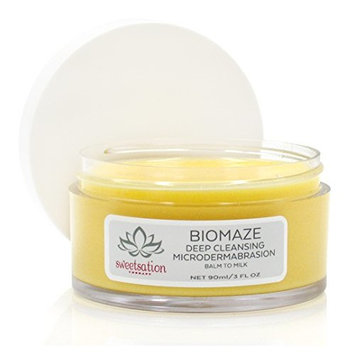 Biomaze Microdermabrasion Balm to Milk Cleanser, 3oz. For smooth and clear skin. With Tahitian Gardenia/Tiare. NEW.