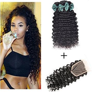 Perstar Deep Wave Bundles with Closure Brazilian Virgin Hair Bundles and Closure Wet and Wavy Human Hair Weave Bundles for Black Women 100% Remy Human Hair Bundles with Closure 16 18 20+16 free part