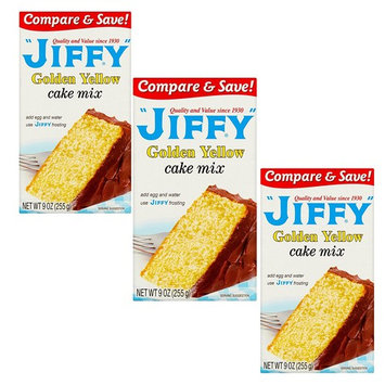 Jiffy Golden Yellow Cake Mix (Pack of 3) - 9 oz. Packaging