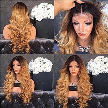 Trebeller Wavy Human Hair Ombre Wig for Women Black Roots 1B/27 Body Wave Blonde Full Lace Wig Glueless Brazilian Virgin Hair with Baby Hair Two Tone Color 18Inch