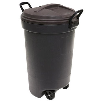 United Solutions Rubbermaid RM133901 Thirty Two Gallon Black Wheeled Trash Can with Lid-32 Gallon/121.1L Refuse Container with Locking Handles and Wheels in Black