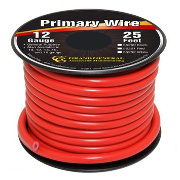 Grand General 55251 Red 12 Gauge Primary Wire in 25 Feet Spool