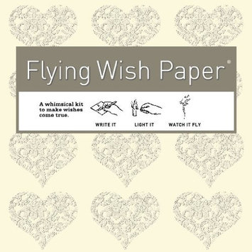 Flying Wish Paper Cream with Grey Hearts Small