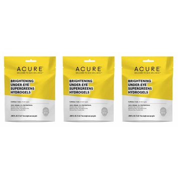 Acure Organics Brightening Under Eye Supergreens Hydrogels (Pack of 3) With Kale and Green Tea, 0.24 oz. each