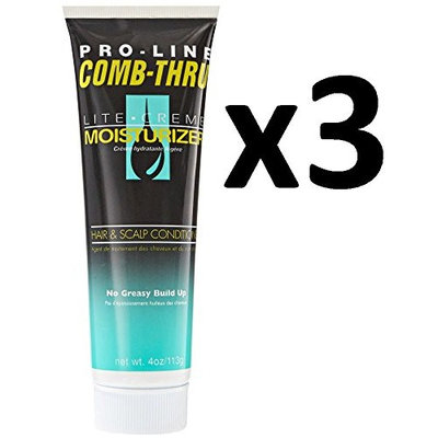 [ LIMIT PACK OF 3] PRO-LINE COMB THRU LITE CREAM MOISTURIZER HAIR & SCALP 4oz : Beauty