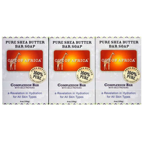 Out of Africa, Pure Shea Butter Bar Soap, Complexion Bar with Milk Proteins, 3 pack, 4 oz (120 g) Each [Scent : Complexion]