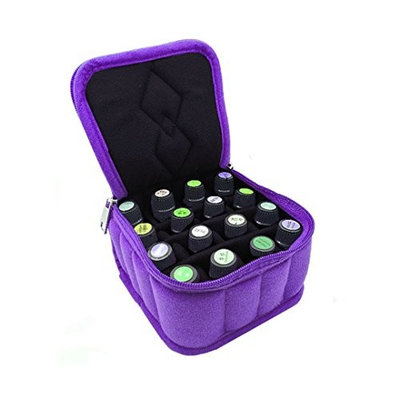Mily Essential Oil Carrying Case with Portable handle and Foam Insert-16 Bottles-Holds 5ml, 10ml, 15ml Aromatherapy Bottles Purple