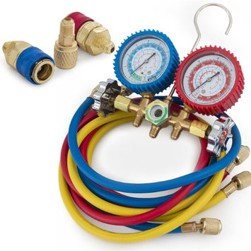 ARKSENc A/C Manifold Brass Gauge, 5 Foot Colored Hose, R134A R12 R22 R502
