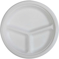 Genuine Joe 3-Compartment Compostable Plates, 10