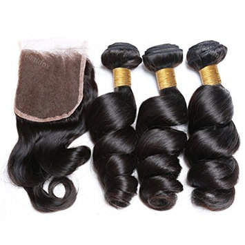 BEAUFOX Brazilian Loose Wave 3 Bundles With Closure Remy Human Hair Unprocessed Virgin Hair Extension Can Be Dyed and Bleached (12 14 16 + 12, Natural Color) …