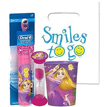 Disney Princess Rapunzel 3pc Bright Smile Oral Hygiene Bundle! Tangled Turbo Powered Toothbrush, Brushing Timer & Mouthwash Rinse Cup! Plus Dental Gift & Remember to Brush Visual Aid!