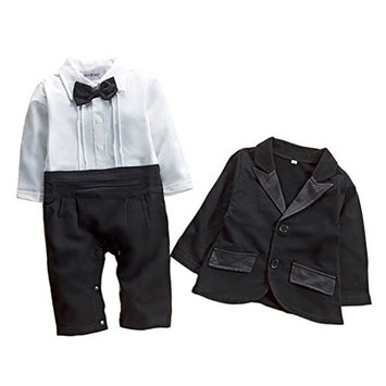 StylesILove Baby Boy Tuxedo Romper and Jacket 2-pc Formal Wear Suit (3-6 Months) [baby_clothing_size: baby_clothing_size-3-6months]
