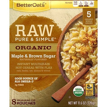 Better Oats Raw Pure & Simple Organic Maple & Brown Sugar Instant Multigrain Hot Cereal with Flax 11.6 OZ (8 POUCHES) by Better Oats