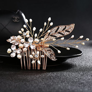 Gold Bridal Wedding Hair Side Comb Handmade Jewelry with Freshwater Pearls