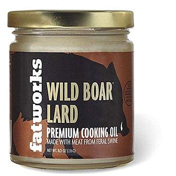 Wild Boar Lard, Made from Free Range Feral Swine, 8 oz