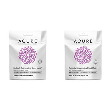 Acure Organics Radically Rejuvenating Sheet Mask (Pack of 2) With Argan Oil and Vitamin C, For Age Performance, .676 fl. oz.