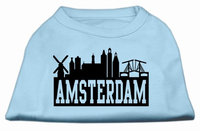 Mirage Pet Products 5167 XSBBL Amsterdam Skyline Screen Print Shirt Baby Blue XS 8
