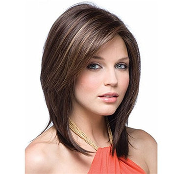 YX Women Natural Long Straight Hair Wig with Bangs Synthetic Heat Resistant Wig