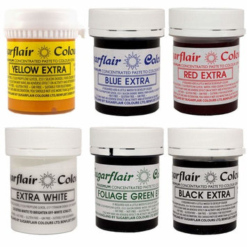 Sugarflair - Set of 6 Extra Concentrated Food Colours - A perfect pack for cake decoration