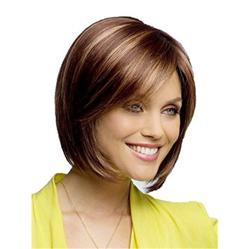 Women Wigs Short Straight Hair Brown Wigs Highlights Blonde 2 Tone Heat Resistant Wig Natural Wigs