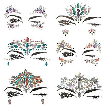Face Gems, 6 Set Women Mermaid Rave Festival Glitter, Rhinestone Temporary Tattoo Face Jewels Crystals Face Stickers Eyebrow Face Body Jewelry