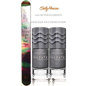 SALLY HANSEN Magnetic Nail Colour SILVER ELEMENTS #903 (PACK OF 2) PLUS A (Free Nail File From fetish for Natural Nails And Nail Tips)