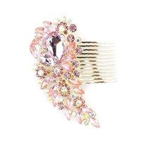 Bridal decorative hair comb - Diamante (Pink & G