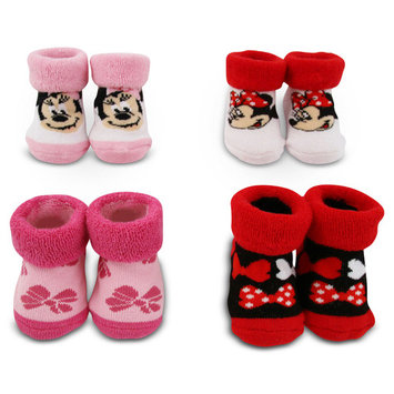 Disney Minnie Mouse 4 Pair Terry Booties Gift Set, Baby Girls, Age 0-12M