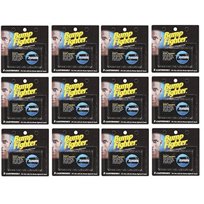Bump Fighter Refill Cartridge Blades 5 Ct Each (12 pack) + FREE Travel Toothbrush, Color May Vary