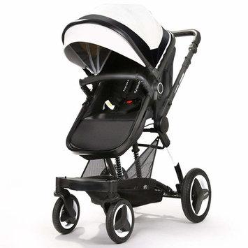 Infant Stroller Newborn Baby Carriage Toddler Seat Strollers Luxury Single Bassinet Baby Stroller Folding Compact Pram Stroller Urban Pushchair (Crescent White)