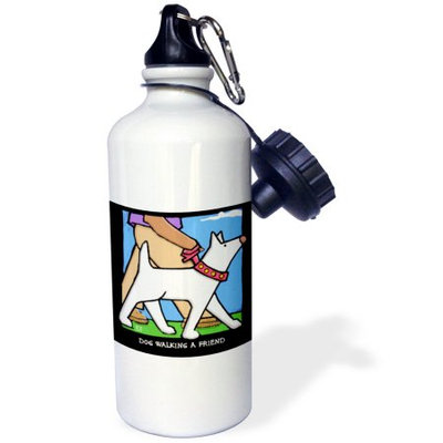 3dRose Dog Walker, Cartoon Dogs, Dogs, Dog, Funny Dogs, Puppies. Pets, Funny Pets, Animals, Sports Water Bottle, 21oz