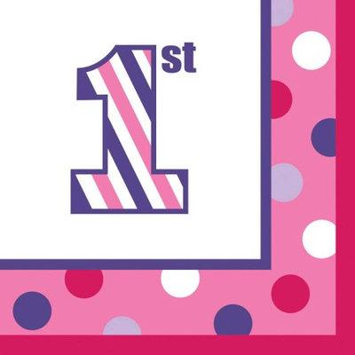 Sweet Stripes Pink Beverage Napkins Pkg/16