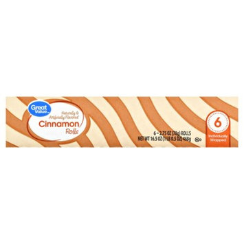 Great Value Cinnamon Rolls, 6 - 2.75 oz rolls