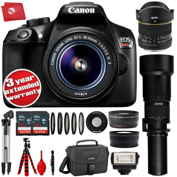 Circuit City Canon T6 18MP DSLR Camera w/ 5 Lens - 6.5 to 2600mm - 64GB - 30PC Kit - Canon EF-S 18-55mm f/3.5-5.6 IS II Lens - Opteka 6.5mm - Opteka 650-2600mm - Opteka 2.2x Tele - Opteka 0.43x Wide + 3YR Warranty