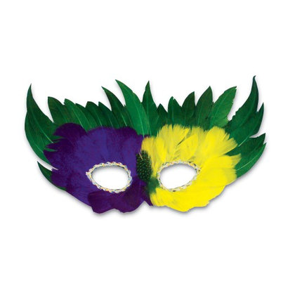 Rhode Island Novelty Mardi Gras Feather Mask 12 per order