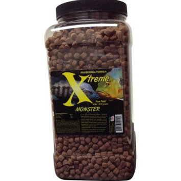 Xtreme Aquatic Foods Monster Krill/Spirulina Large Fish and Pond Food, Slow Sinking, 9-10mm Pellets, 64 oz