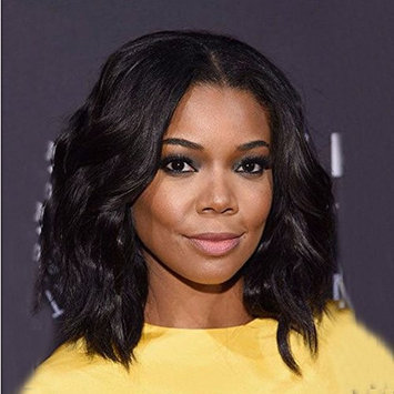 NiceToBuy Glueless Short Bob Wavy Brazilian Virgin Human Hair Lace Front Wigs for Women #1 Jet Black Color 12inch