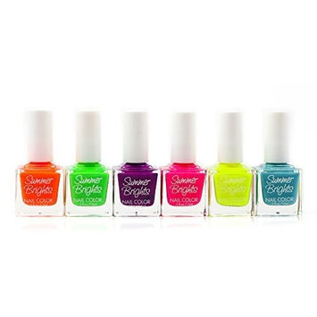 Lot of Summer Brights Nail Color Polish Set 6-Piece Collection by Beauty Brags