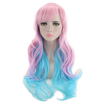 Gradient Curly Wig - MeineBeauty Wavy Short Wig Natural Fashion Heat Resistant Women Curled Wig for Party Dating Prom Ball Costume Daily Dress Cosplay Halloween